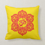 Floral Aum Design, red and yellow Throw Pillow