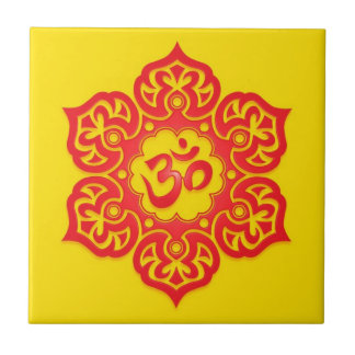 Floral Aum Design, red and yellow Tile