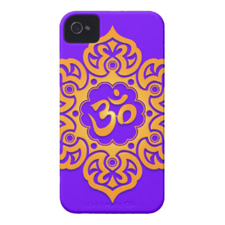 Floral Aum Design – yellow and blue iPhone 4 Case-Mate Cases