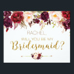 "Floral Autumn Will You Be My Bridesmaid Card<br><div class=""desc"">Will You Be My Bridesmaid Card with burgundy,  marsala floral design. Perfect for your romantic autumn wedding.</div>"