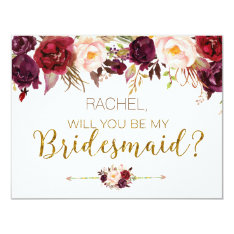Floral Autumn Will You Be My Bridesmaid Card at Zazzle