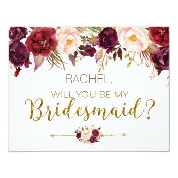 Floral Autumn Will You Be My Bridesmaid Card by HappyPartyStudio at Zazzle