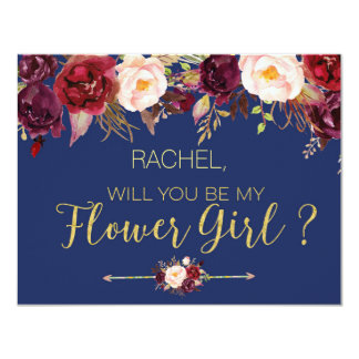 Floral Autumn Will You Be My Flower Girl Card