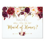 Floral Autumn Will You Be My Maid Of Honor Card at Zazzle