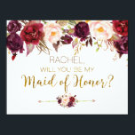 """Floral Autumn Will You Be My Maid of Honor Card<br><div class=""""desc"""">Will You Be My Maid of Honor Card with burgundy,  marsala floral design. Perfect for your romantic autumn wedding.</div>"""