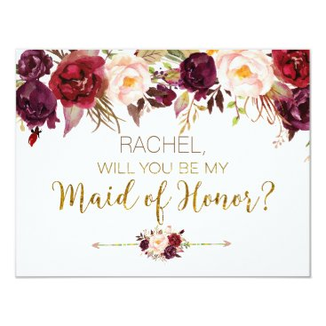 HappyPartyStudio Floral Autumn Will You Be My Maid of Honor Card