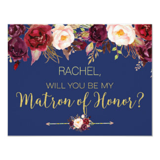 Floral Autumn Will You Be My Matron of Honor Card