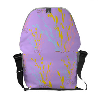 Floral Awareness Ribbons on Lilac Purple Courier Bag