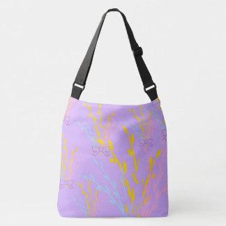 Floral Awareness Ribbons on Lilac Purple Crossbody Bag