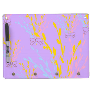 Floral Awareness Ribbons on Lilac Purple Dry Erase Board With Keychain Holder