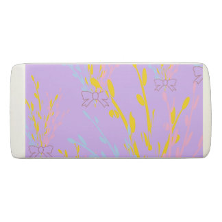 Floral Awareness Ribbons on Lilac Purple Eraser