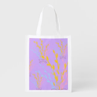 Floral Awareness Ribbons on Lilac Purple Grocery Bag