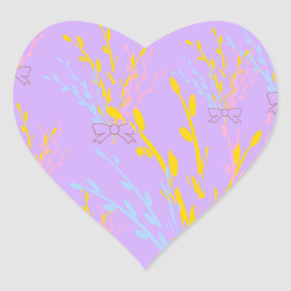 Floral Awareness Ribbons on Lilac Purple Heart Sticker