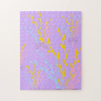 Floral Awareness Ribbons on Lilac Purple Jigsaw Puzzle