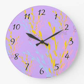 Floral Awareness Ribbons on Lilac Purple Large Clock