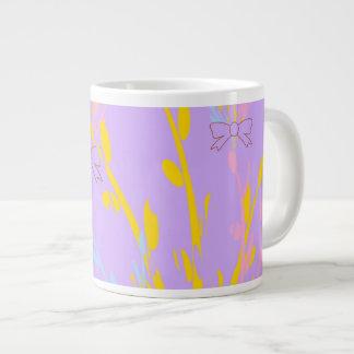 Floral Awareness Ribbons on Lilac Purple Large Coffee Mug