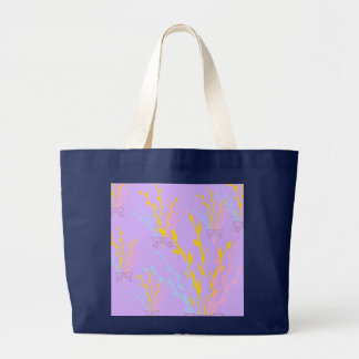 Floral Awareness Ribbons on Lilac Purple Large Tote Bag