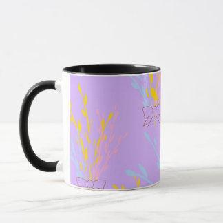 Floral Awareness Ribbons on Lilac Purple Mug