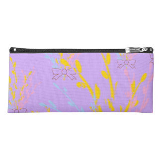 Floral Awareness Ribbons on Lilac Purple Pencil Case