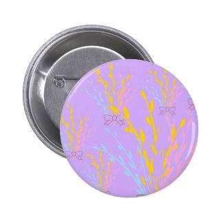 Floral Awareness Ribbons on Lilac Purple Pinback Button