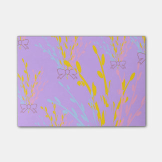 Floral Awareness Ribbons on Lilac Purple Post-it Notes
