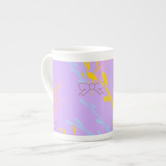 Floral Awareness Ribbons on Lilac Purple Tea Cup
