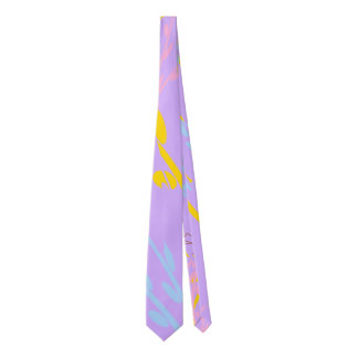 Floral Awareness Ribbons on Lilac Purple Tie