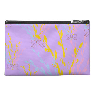 Floral Awareness Ribbons on Lilac Purple Travel Accessory Bag