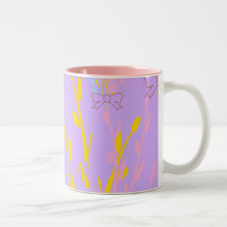 Floral Awareness Ribbons on Lilac Purple Two-Tone Coffee Mug