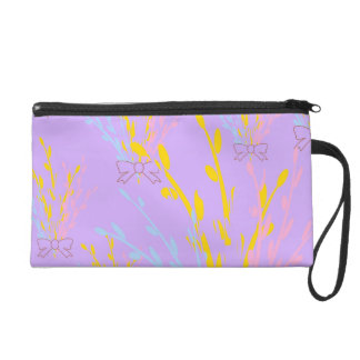 Floral Awareness Ribbons on Lilac Purple Wristlet Purse