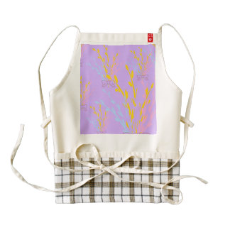 Floral Awareness Ribbons on Lilac Purple Zazzle HEART Apron