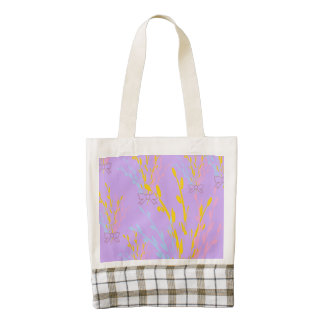 Floral Awareness Ribbons on Lilac Purple Zazzle HEART Tote Bag
