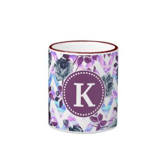 Floral Aztec Chevron Monogram Ringer Coffee Mug