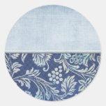 Floral azul apenada personalizable etiquetas redondas