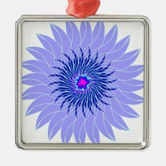 floral azul ciánico púrpura lavendar de la flor adorno cuadrado plateado