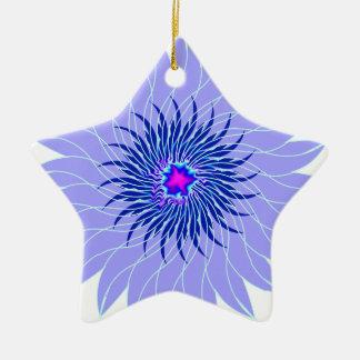 floral azul ciánico púrpura lavendar de la flor adorno de cerámica en forma de estrella
