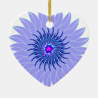 floral azul ciánico púrpura lavendar de la flor adorno de cerámica en forma de corazón
