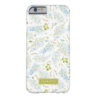 Floral azul claro del invierno personalizado funda para iPhone 6 barely there