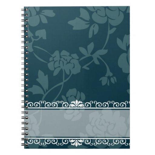 Floral azul cuaderno