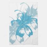 Floral azul de la aguamarina toalla de mano