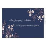 Floral azul de la tarjeta de la enhorabuena del bo