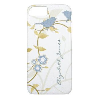Floral azul de White Birds del oro personalizado Funda iPhone 7