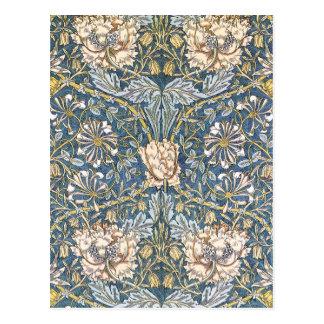Floral azul de William Morris Postales
