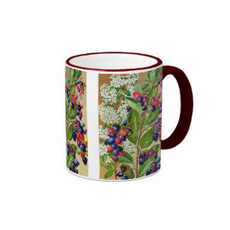Floral azul del abd blanco rojo taza