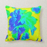 floral azul del amarillo abstracto de la flor almohadas
