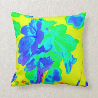 floral azul del amarillo abstracto de la flor cojín decorativo