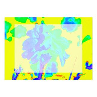 floral azul del amarillo abstracto de la flor comunicados