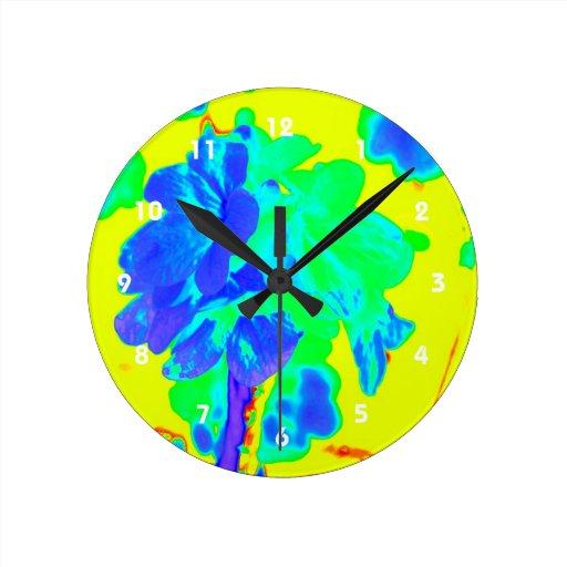 floral azul del amarillo abstracto de la flor reloj de pared