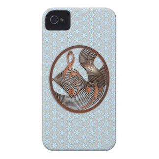 Floral azul del metal de la música de Steampunk Case-Mate iPhone 4 Protector
