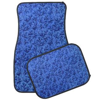Floral azul del zafiro de la hoja del cordón del alfombrilla de auto